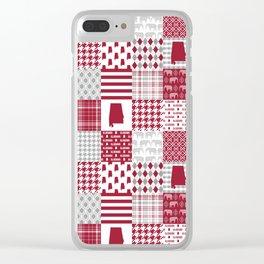 Alabama bama crimson tide cheater quilt state college university pattern footabll Clear iPhone Case