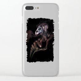 Smoke skull in black Clear iPhone Case