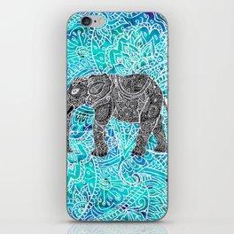 Mandala paisley boho elephant blue turquoise watercolor illustration iPhone Skin