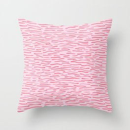 Waves Lines Texture Seamless Vector Pattern Pink Throw Pillow
