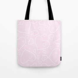 Palest Pink and White Hand Drawn Hearts Pattern Tote Bag