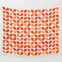 Red geometric floral leaves pattern in mid century modern style Wall Tapestry