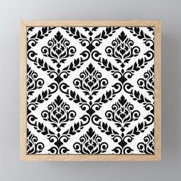 Prima Damask Pattern Black on White Framed Mini Art Print