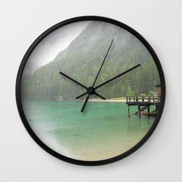 Rainy morning on the lake Wall Clock