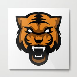 Minimal Angry Tiger Mascot Cartoon Metal Print
