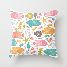 Retro Fish Throw Pillow