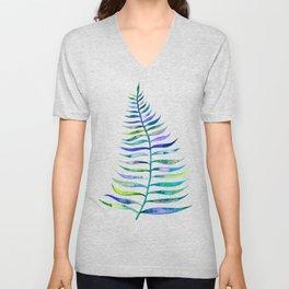Indigo Palm Leaf Unisex V-Neck