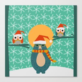 Christmas bear and two little owls Canvas Print