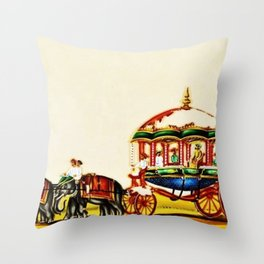 Classical Masterpiece 1820 'Maharaja Elephant-drawn Carriage, Bombay, Indian - Artist Unknown Throw Pillow