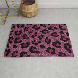 Pink Glitter Leopard Print Rug