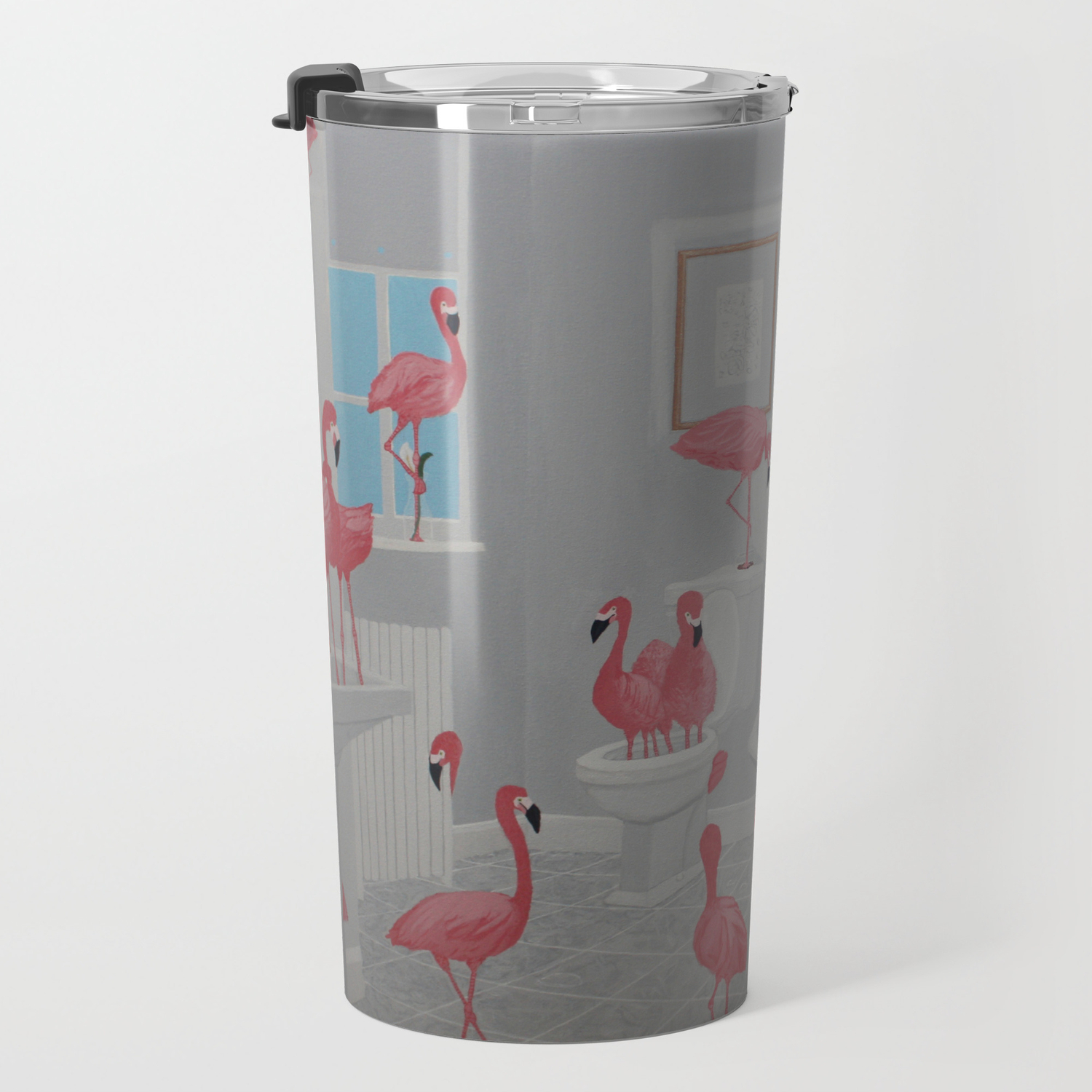 Flamingos In the Bathroom Travel Mug