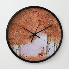 Autumn Birch Fox Wall Clock