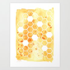 Golden Honeycomb Art Print