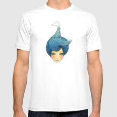 the girl with swan hair MEDIUM Mens Fitted Tee White