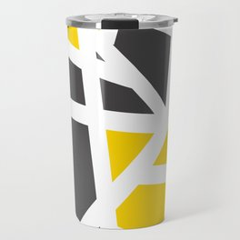 Abstract Interstate  Roadways Gray & Yellow Color Travel Mug