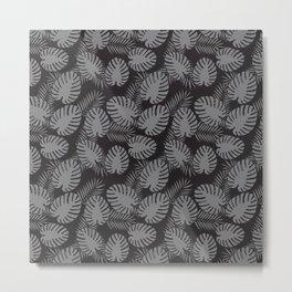 Tropical Print Grey & Black Metal Print