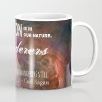 "carl sagan Mugs featuring ""Exploration is in Our Nature"" Carl Sagan Quote by kishbish"
