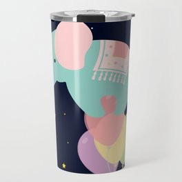 Elephant and Balloons At night , nursery decor , Travel Mug