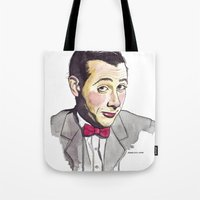 pee wee Tote Bags featuring Pee Wee by Jesse Robinson Williams