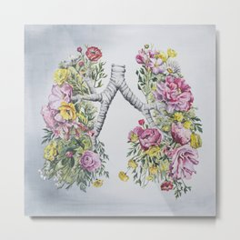 Floral Anatomy Lungs Metal Print
