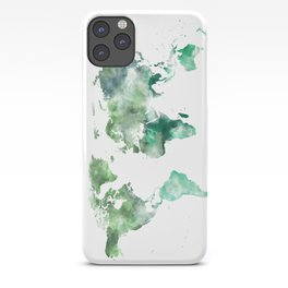 World Map Emerald Green Earth iPhone Case