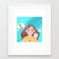 bee and puppycat Framed Art Prints featuring Bee and Puppycat by Cookie