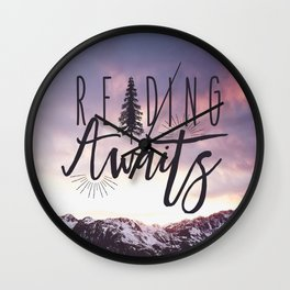 Reading Awaits - Purple Mountains Wall Clock