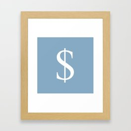 dollar sign on placid blue color background Framed Art Print
