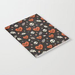 I Heart Halloween Pattern (Black) Notebook