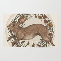 rabbit Area & Throw Rugs featuring Rabbit by Jessica Roux