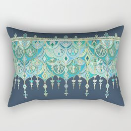 Art Deco Double Drop in Blues and Greens Rectangular Pillow
