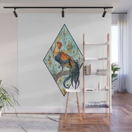 Rooster ~ watercolor illustration Wall Mural