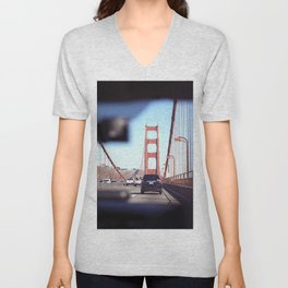 From the Backseat, Driving Across the Golden Gate Unisex V-Neck