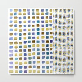 Blue & gold squares Metal Print
