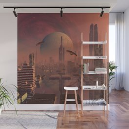 Futuristic City with Space Ships Wall Mural