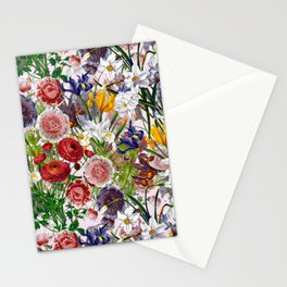 Vintage & Shabby Chic - Lush baroque flower pattern on pink Stationery Cards