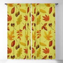 Autumn art fallen leaves and acornsl in warm hues Blackout Curtain