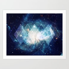 Shining Nebula - Blue Art Print