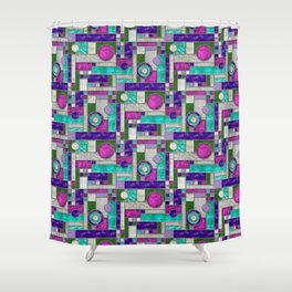 Stained Glass Window - Color Blocking - Pink Purple Blue Shower Curtain