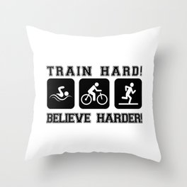 Triathlon Train Hard Gift Throw Pillow