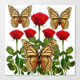 RED ROSES  & MONARCH BUTTERFLIES ART Canvas Print