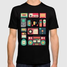 Retro Technology 1.0 MEDIUM Black Mens Fitted Tee