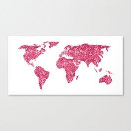 World Map Hot Pink Glitter Sparkles Canvas Print