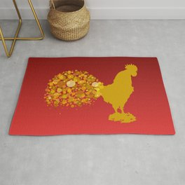 Golden Yellow Rooster  Rug