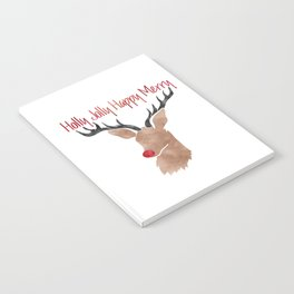 Christmas Watercolor Red Nosed Reindeer Silhouette Notebook