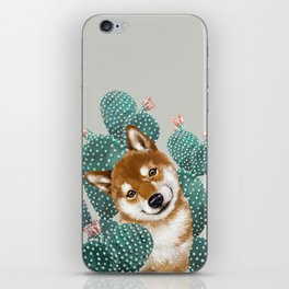 Shiba Inu and Cactus iPhone Skin