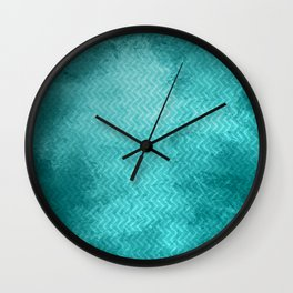 Textured limpet blue chevron pattern Wall Clock