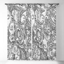 paisley batik black Sheer Curtain