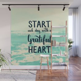 Start each day with a grateful heart Text on sea photo Wall Mural