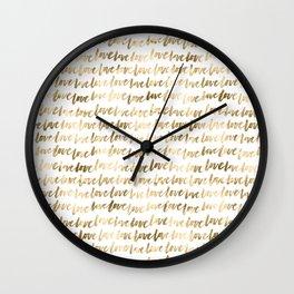 Gold Love Pattern Wall Clock